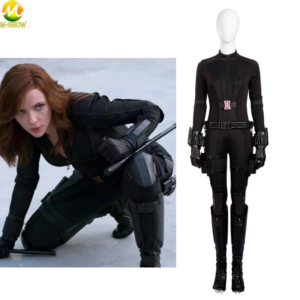 Black Widow Natasha Romanoff  Black Suit Cosplay Costume Halloween Jumpsuits Outfit