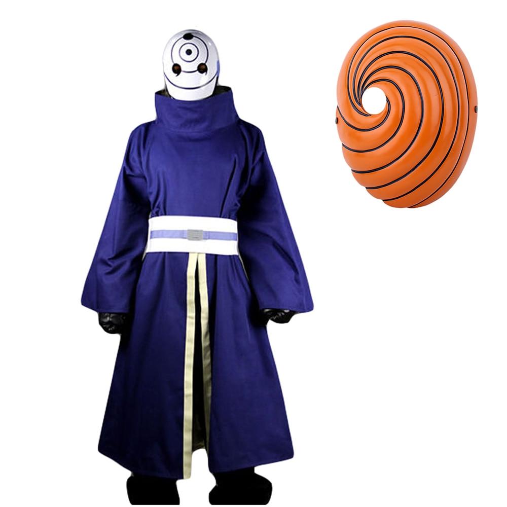 HOT Akatsuki Ninja Tobi Obito Madara Uchiha Suit Cloak Uniform Cosplay Costume