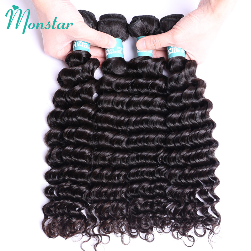 Monstar Hair Products Raw Peruvian Deep Curly Bundles Unprocessed Virgin Human Hair Weave 4 Bundles Natural Color Free Shipping