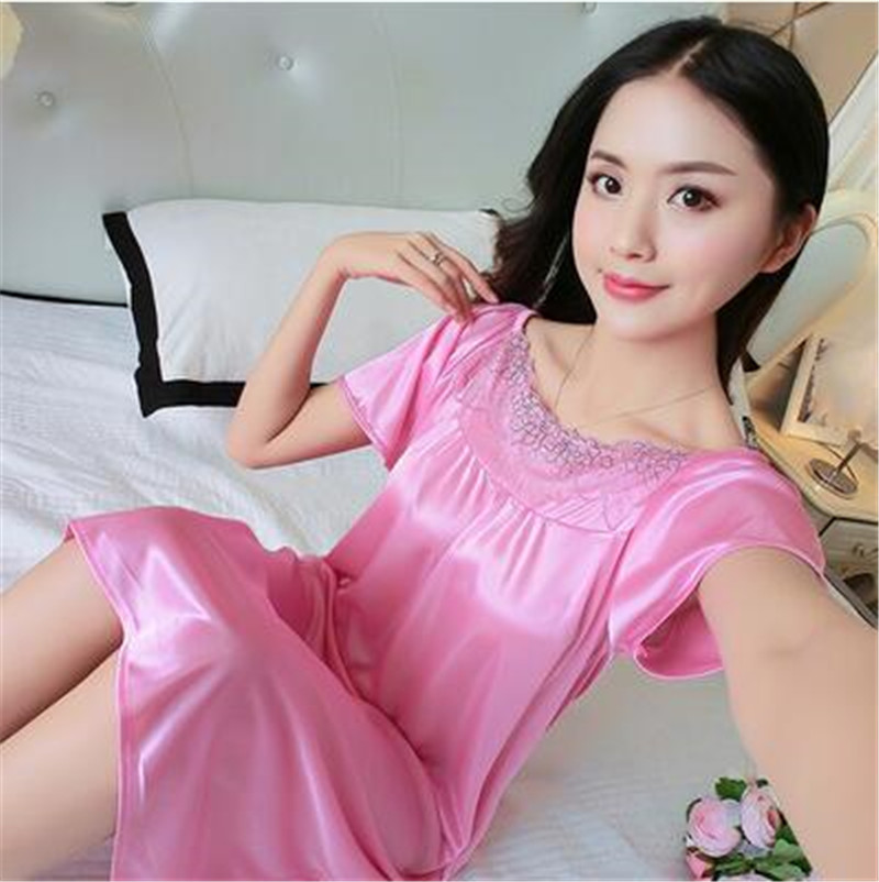 f935bd71b Women s Nightdress Female Summer Korean Ice Silk Sexy Temptation ...