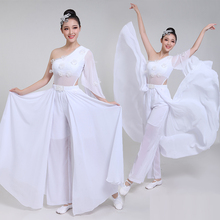 Chinese style hanfu white classical dance costume female adult fan dance umbrella dance performance dance costume цена и фото