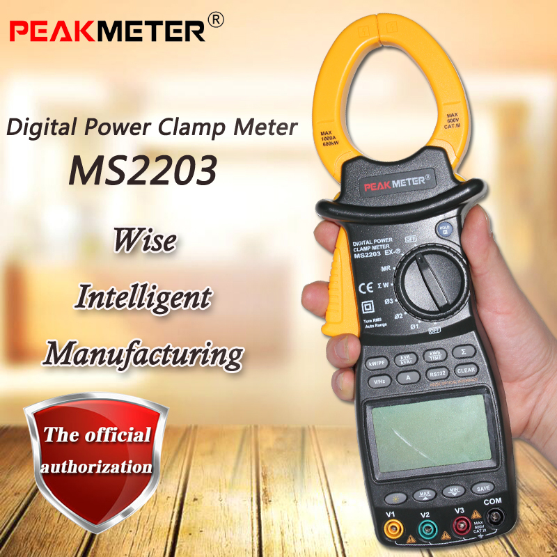 PEAKMETER MS2203 three-phase digital clamp power meter, true RMS measurement data storage RS232 data transmission PM2203 цена