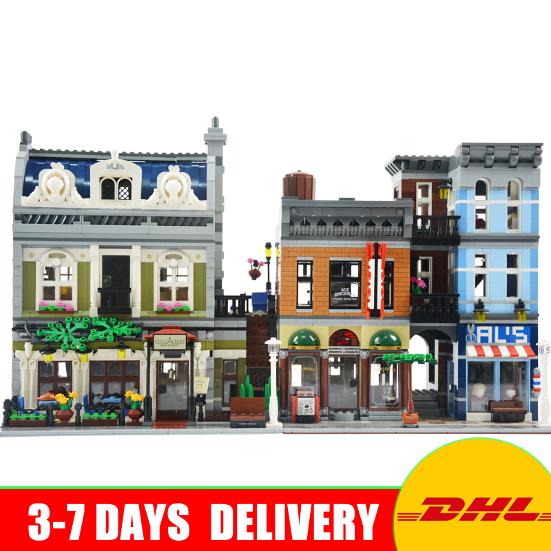 LEPIN 15010 Parisian Restaurant+15011 The Detective's Office Model Building Block Set Bricks Kit Set Clone 10243 10197