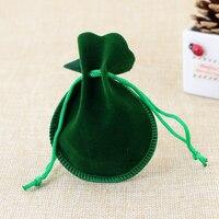 100pcs/Lot 7x9cm Green Gourd-type Velvet Jewelry Pouch Drawstring Packaging Bags High Quality Velvet Bags Small