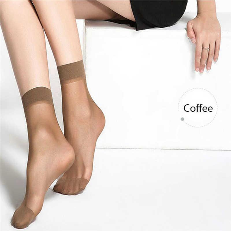 10 ペアファッション女性靴下ナイロン弾性ショート足首薄手メッシュ無地シルクショートソックスレディース靴下