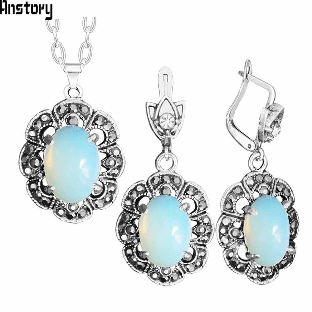 Oval Transparent Opal Necklace Earrings Jewelry Set Rhinestone Vintage Look Fashion Jewelry For Women TS429