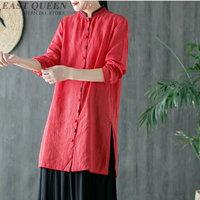 Traditional chinese blouse shirt tops for women mandarin collar oriental linen shirt blouse female cheongsam top AA4018