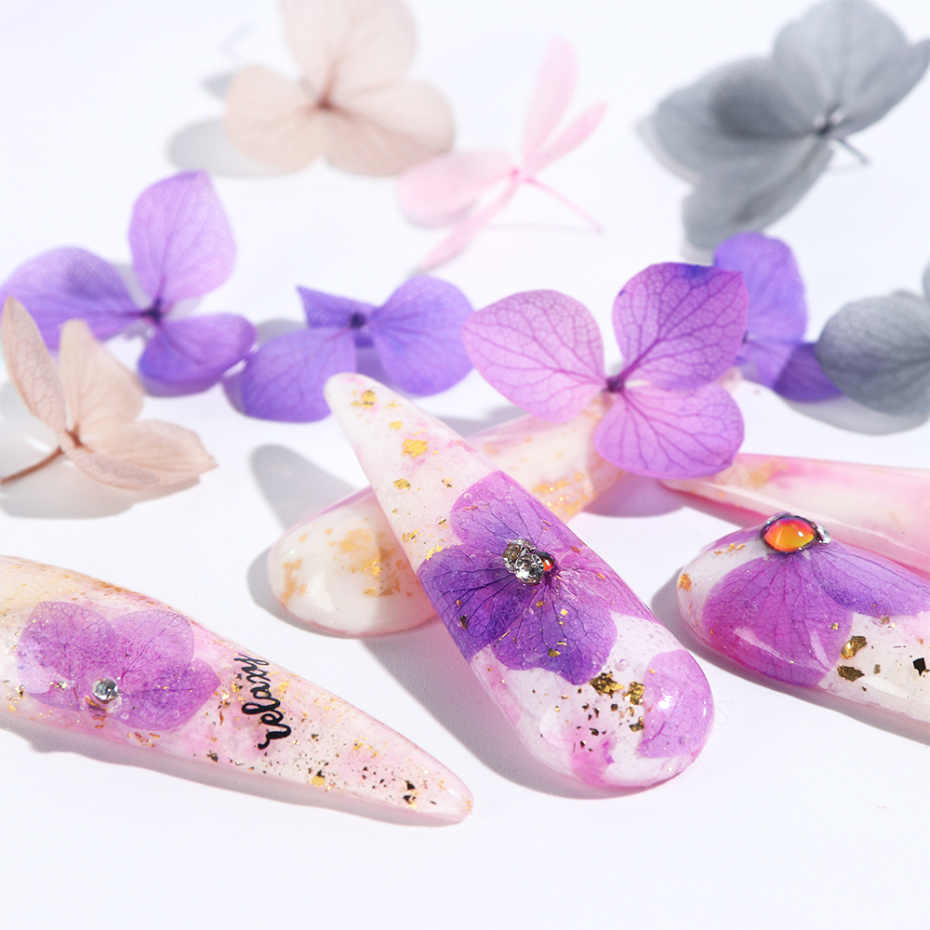 100 pcs flores secas decoração da arte do prego diy natural pressionado flora gel manicure adesivos hortênsia folha decoração 3d dicas de unhas la1505