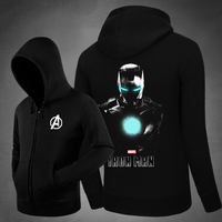 Hot Character Iron Man Dark Hoodies Side Pockets Hoody Men Sweatshirts Outerwear Unisex Cotton Zipper Coat