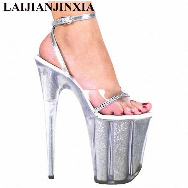 194211efc62 US $80.0 |LAIJIANJINXIA Silver Shoes 10 CM Platform Sexy Pole Dancing Shoes  8 Inch High Heels Shoes Nightclub Model Dance Shoes E 087-in Dance shoes ...
