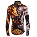 Top Quality Men Shirts Fashion Dragon Pattern Print Slim Fit Mens Shirts Luxury Brand New Long Sleeve Male Tops Shirt Size 4XL