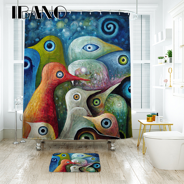 IBANO Abstract Painting Shower Curtain Waterproof Polyester Fabric Bath For The Bathroom Decoration With 12pcs