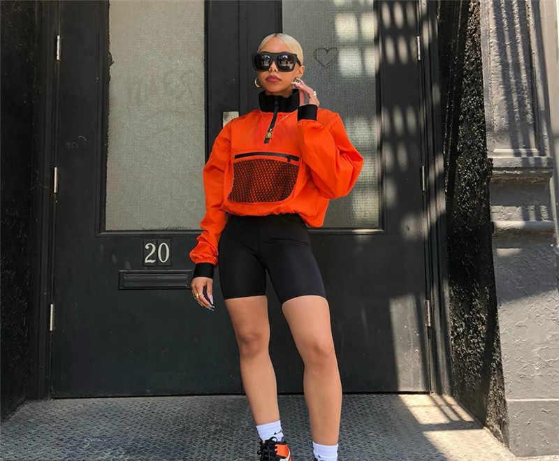 2019 ربيع الخريف النساء الموضة طويلة الأكمام جيب شبكي خليط طوق سستة T قميص فضفاض بلوزة الإناث غير رسمية