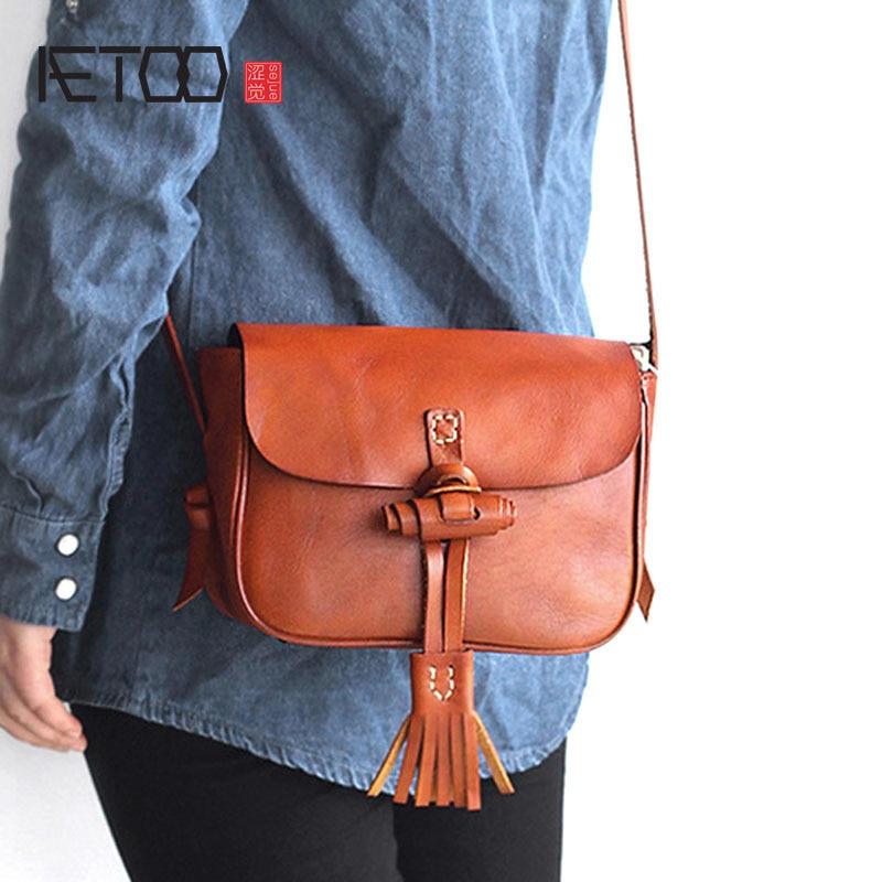 AETOO Bag female 2018 new tassel leather handbags retro hand rub color vegetable tanned leather diagonal