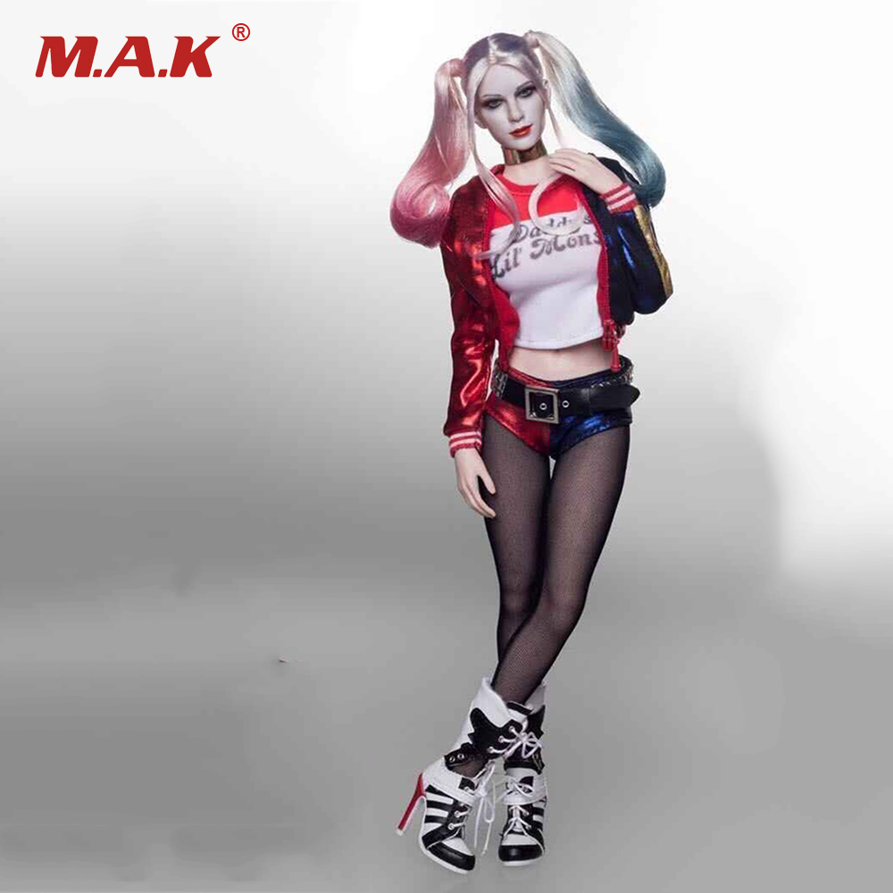 1/6 Scale Suicide Squad Harley Quinn Clothes Set with Head Sculpt for Female 12 inches Action Figure Bodies 1 6 scale the driver travis head sculpt with sunglasses for 12 inches bodies figures collections