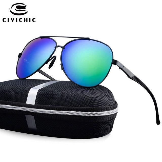 1d9e0ad1b69 CIVICHIC Classic Al-Mg Polarized Sunglasses Men Driving Glasses Police  Eyewear Outdoor Lunettes Frog Mirror