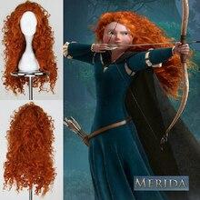 Brave Princess Merida ชุดคอสเพลย์ Mei Lida วิกผมสังเคราะห์ลอนยาวฮาโลวีนเล่นบทบาท Wigs สำหรับผู้หญิง