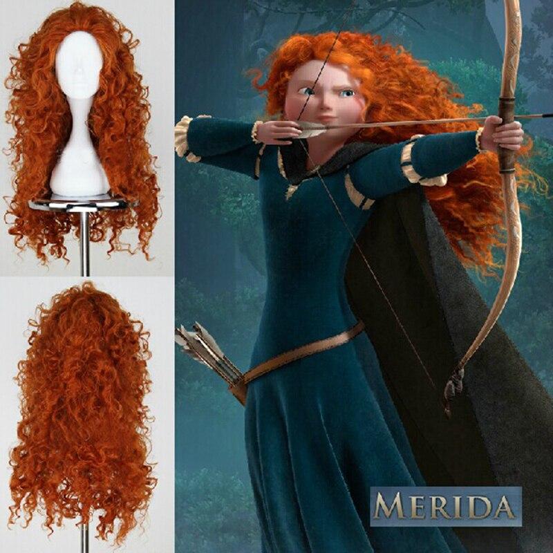 Película Brave princesa Merida Cosplay Mei lida pelucas sintéticas rizadas pelo Halloween Party Role Play pelucas para las mujeres