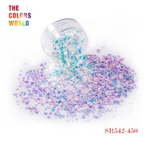 TCT-132, 12 цветов, четыре угла, форма звезд, блестки для ногтей, блестки для украшения ногтей, макияж, боди-арт, сделай сам - Цвет: SR542-450   50g