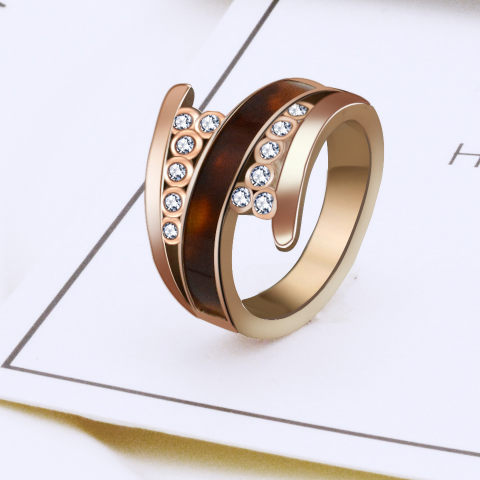 BORASI 2017 New Fashion Female Wedding Bands Jewelry Gold Color Crystal Ring Engagement Ring For Women CZ Stone Rings