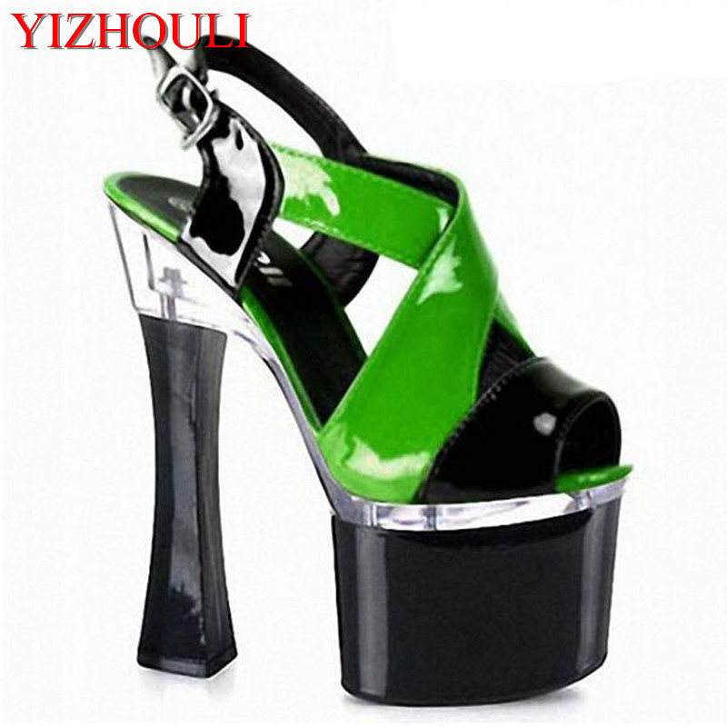18cm summer sexy pole dancing sandals for women 2018 fashion clubbing high heels 7 inch platform color block shoes 20cm pole dancing sexy ultra high knee high boots with pure color sexy dancer high heeled lap dancing shoes