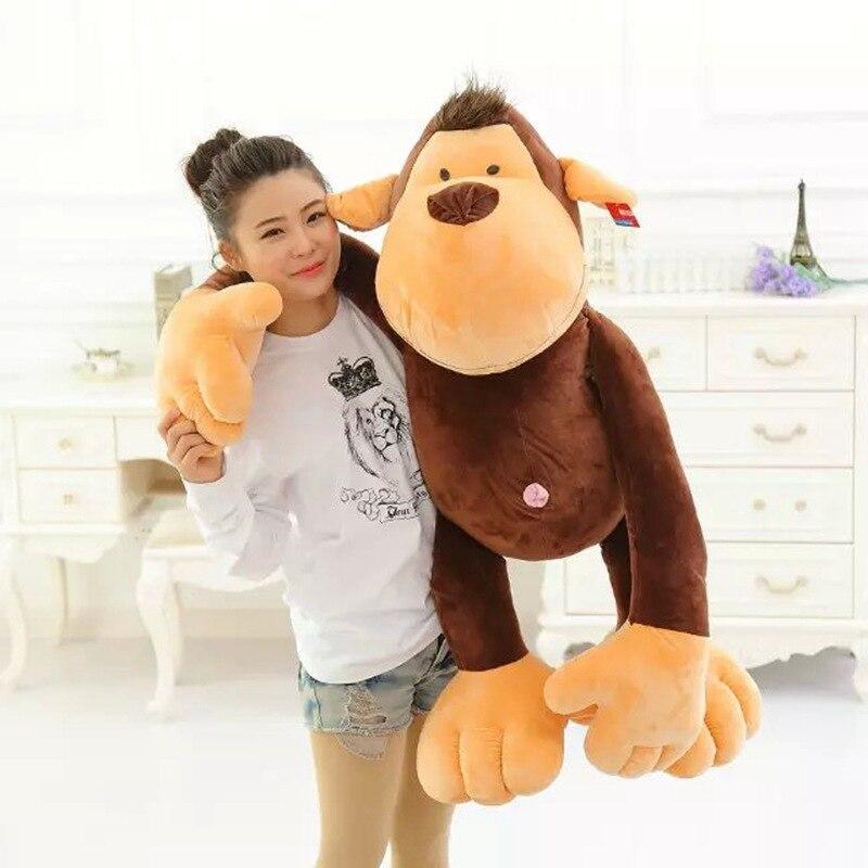 large 110cm font b cute b font brown monkey plush toy soft doll hugging font b