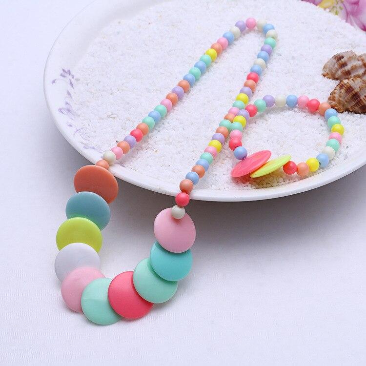 1 комплект, милые подарки для девочек, детские аксессуары для принцесс, наборы, разноцветные акриловые бусины, цветок, ожерелье и браслет