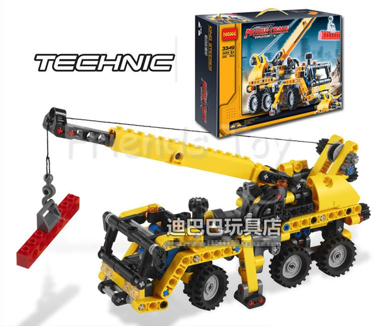 Truck Crane Mobile Crane Transport Car Model Exploiture Building Block Sets DIY Toys Gift Lepin Technology Compatible With Lego lepin 22001 pirate ship imperial warships model building block briks toys gift 1717pcs compatible legoed 10210