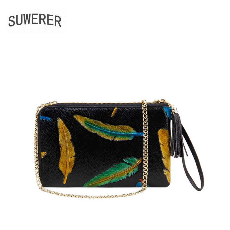 SUWERER 2018 New Women Genuine Leather bag for women luxury fashion Embossing clutch bags women bag designer leather bags