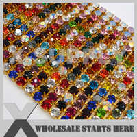SS28(6mm) GOLD Close Dense Crystal Rhinestone Cup Chains,Mixed Colors,Used for Weddings,Shoes,Clothing Decorations