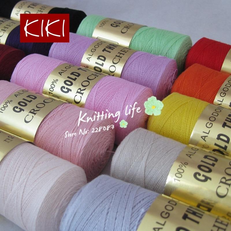 Hilo de algodón de encaje de alta calidad 8 # para crochet, 5 piezas 470G / Lot, tejido de gancho de ganchillo de 1.25 mm, hilo fino