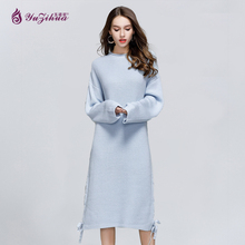 Фотография Yuzihua Woman Sweater Pullovers Long Sleeve O-neck Knitted Slim Jumper Sweater Dress Pull Femme Hiver Autumn Fashion Soft Winter