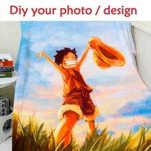 Blanket Custom Photo Design 150x200cm Flannel Fleece Blanket Anime One Piece Printed Sofa Warm Bed Throw Blanket Adult H Blanket