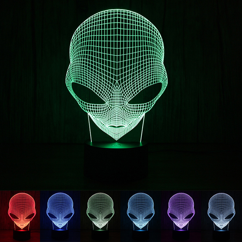 Unique 3D Cartoon Special Alien Shape LED Table Lamp With USB Power Touch Night Light Gif 3d christmas snowman shape touch colorful night light