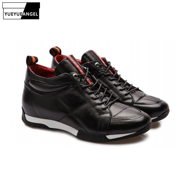 2a7e83e53c0 2019 New Arrival British Style Fashion Men Shoes Comfort Breathable Genuine  Leather Casual Hidden Heel Shoes 6CM Lace Up Black