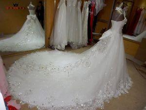 Image 3 - Vestido De novia tul encaje con cuentas De cristal, elegante Vestido De novia, tren largo KA04M, 2020