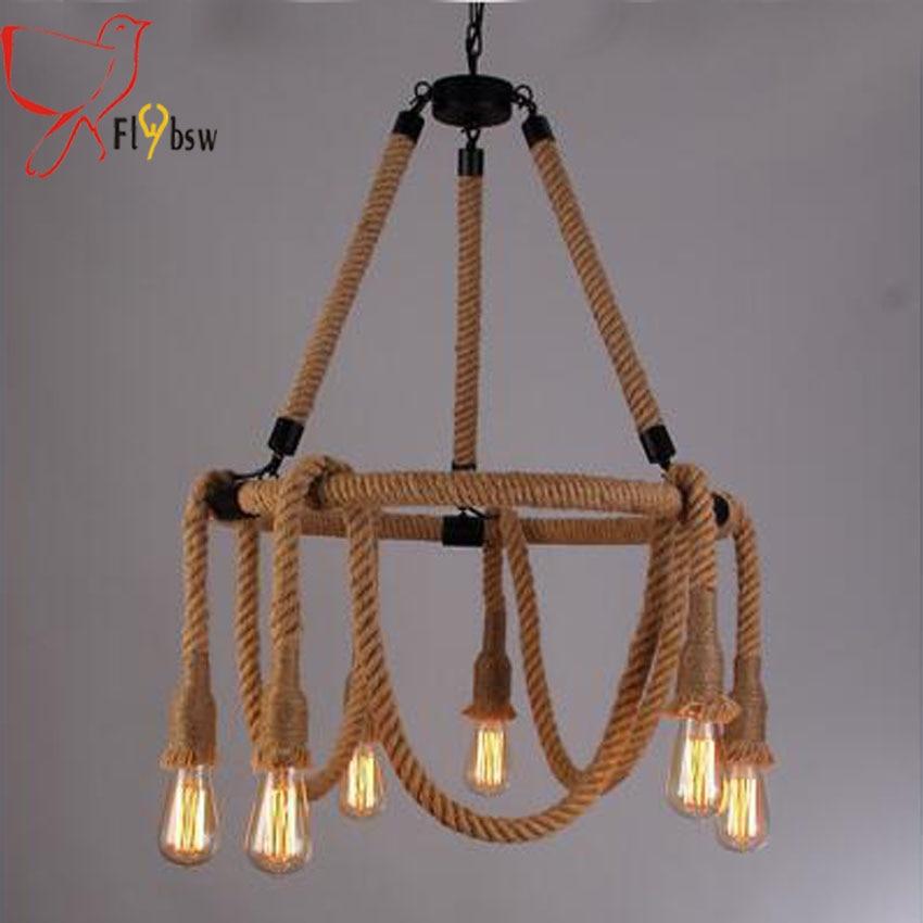 American Style Vintage hemp Rope Pendant Lights 6 heads E27 edison bulb Creative Industrial haning Lamp