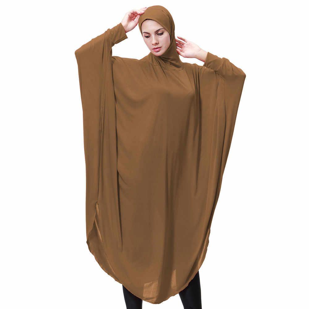 Kobiety FashionWomens Lady codzienne Casual muzułmańskie Soild długi rękaw długie sukienki Vintage Fasion 4.12