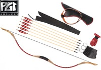 PG1ARCHERY HandMade Red Longbow Archery Set 6 Wooden Hunting Arrows Finger Arm Guard Arrow Quiver Recurve Bow