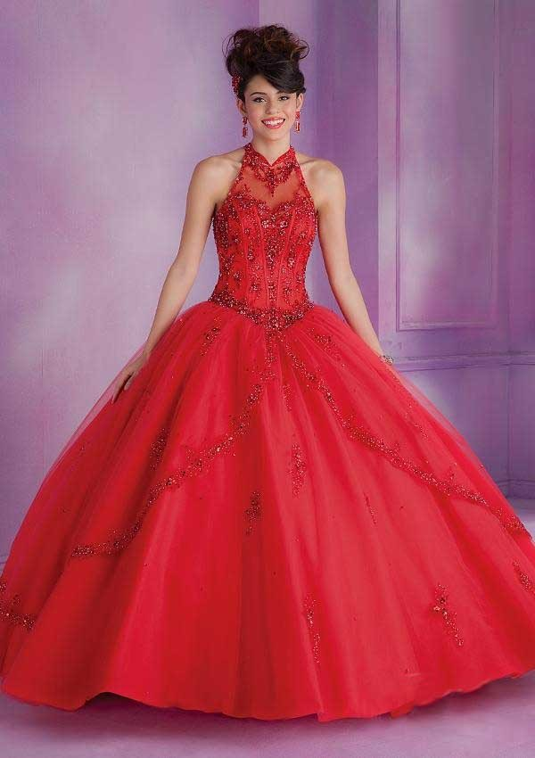 Debut Ball Gowns Quinceanera Dress for 15 Years Tulle Appliques Halter New Fashion Design 2015 Girls Special Party Clothing2