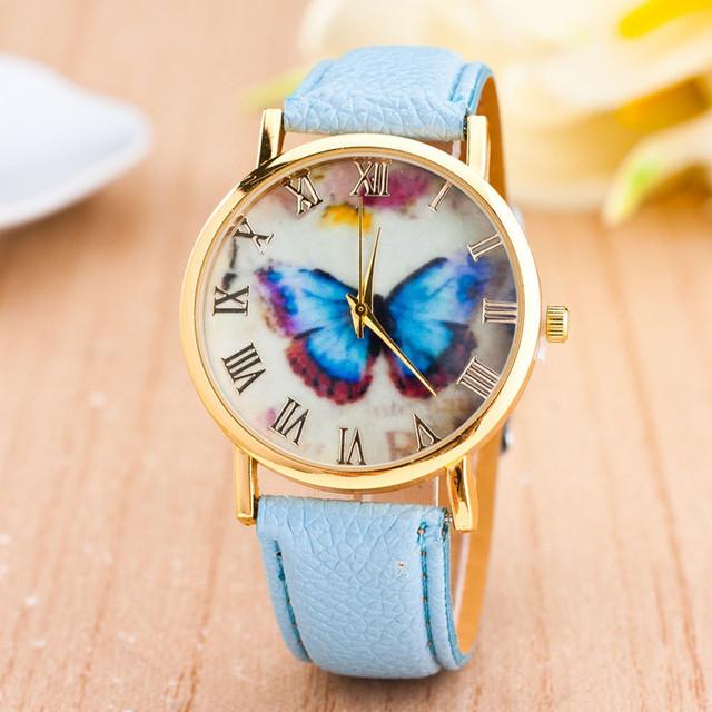 Discount Women Watches women top famous Brand Luxury Casual Quartz Watch Female Butterfly Leather Band Wrist Watch 2017 Feida