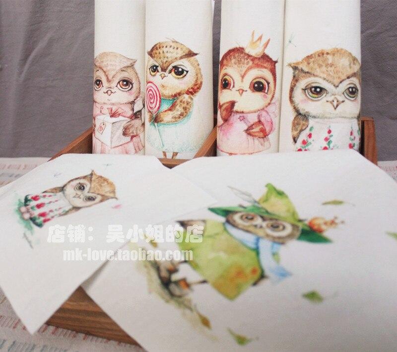 10 unids/set 15*15 cm de tela Búho animal lienzo hecha a mano de tela patchwork