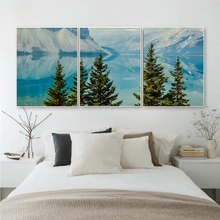 Laeacco Canvas Painting Calligraphy Nordic Forest Tree Wall Art  Outside Posters and Prints Home Living Room Wall Decor Pictures