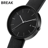 Break Top Quality Men Women Simple Fashion Quartz Wristwatch Steel Case Genuine Leather Galendar Waterproof For
