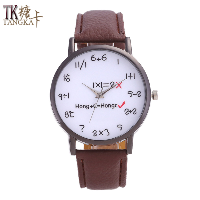 TANGKA New Fashion Brand Watch Men Women Watches Mathematical Formula Pointer Dial Luxurious Relogio Masculino