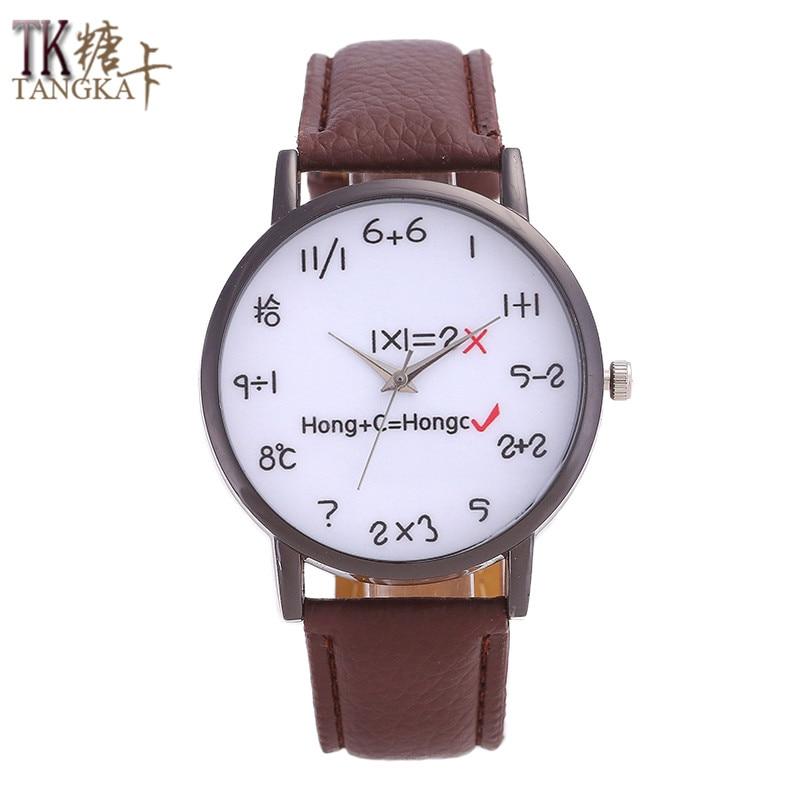 TANGKA New Fashion Brand Watch Men Women Watches Mathematical Formula Pointer Dial Luxurious Relogio Masculino