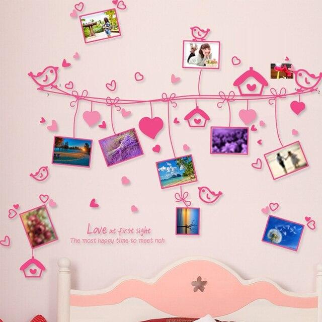 Heart Shape Birds Photos Wall Decal Home Sticker Paper Removable Art  Picture DIY Murals kids Nursery