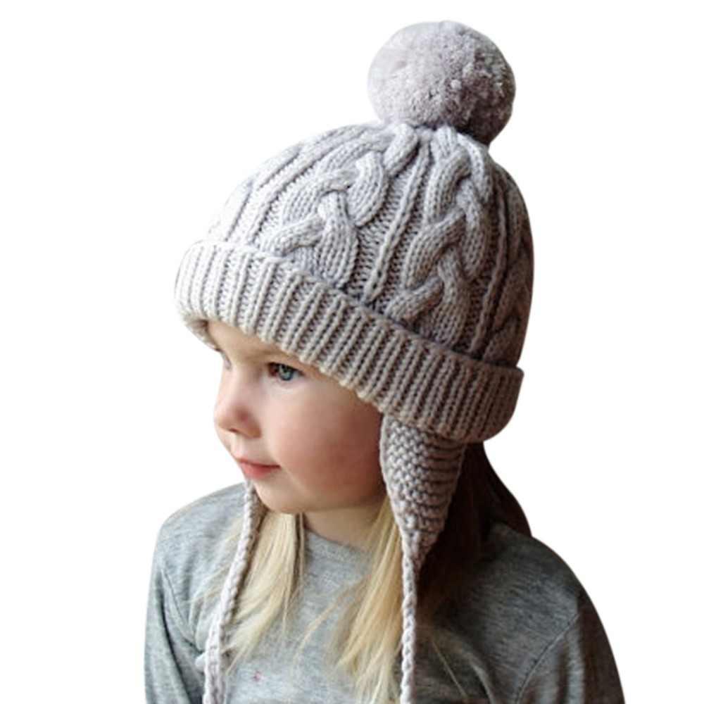 87e82d4d29ceb Cute Bomber Hats Baby Girls Boys Fur Pom Pom Winter Warm Wool Knitted Bomber  Braid Hat