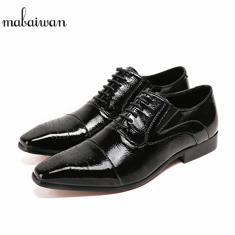 Mabaiwan Black Genuine Leather Men Shoes Dress Wedding Male Brogue Shoes Men Lace Up Oxfords Prom Slipper Business Formal Flats