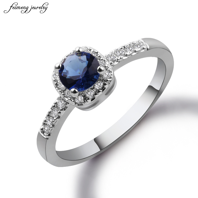 Silver Color Exquisite Bijoux Fashion Square Wedding & Engagement Ring Made With Dark blue crystal Cubic Zirconia Jewelry